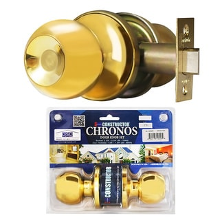 Chronos Passage Polished Brass Finish Door Lever Lock Set Knob Handle Set