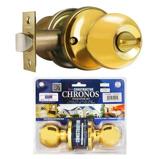 Chronos Privacy Polished Brass Finish Door Lever Lock Set Knob Handle Set