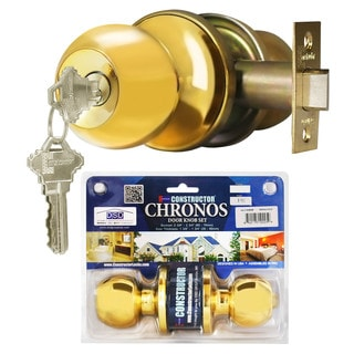 Chronos Entry Polished Brass Finish Door Lever Lock Set Knob Handle Set