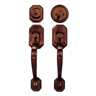 Cerberus Entry Hand Set Door Lock Lever Antique Copper Finish Door Lock Lever Handle Set