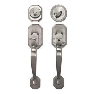 Cerberus Entry Satin Nickel Finish Door Lock Lever Handle Set