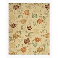 Hand-tufted Wool Beige Transitional Floral Looped Pile Carolina Rug - 5' x 8'
