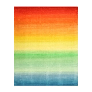 Hand-tufted Wool Contemporary Stripe Rainbow Rug (8'9 x 11'9)