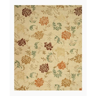 Hand-tufted Wool Beige Transitional Floral Looped Pile Carolina Rug (7'9 x 9'9)