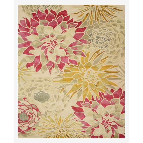 Hand-tufted Wool Ivory Transitional Floral Sunflower Rug - 7'9 x 9'9