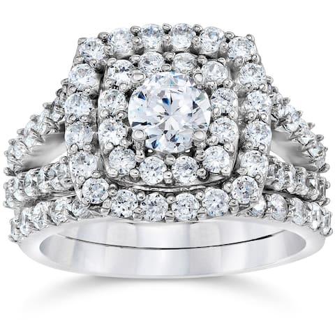 10k White Gold 2ct TDW Diamond Double Cushion Halo Engagement Matching Wedding Ring Set