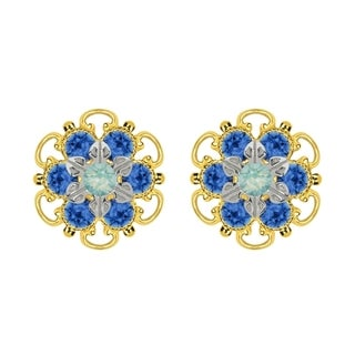 Lucia Costin Goldplated Sterling Silver Mint Blue/ Blue Crystal Stud Earrings
