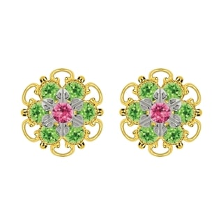 Lucia Costin Goldplated Sterling Silver Pink/ Light Green Crystal Stud Earrings