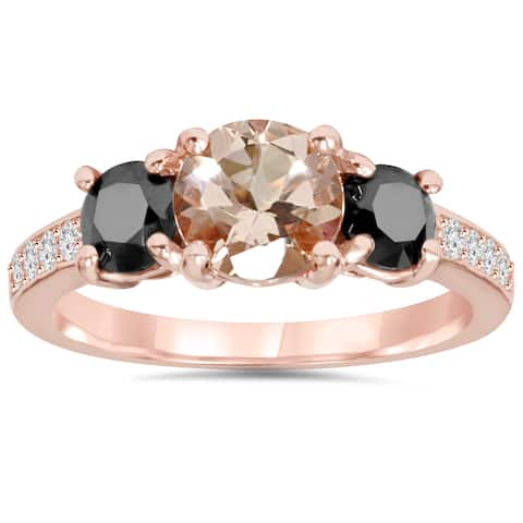 Pompeii3 14k Rose Gold 2ct TDW Black and White Diamond Morganite Ring (H-I, I2-I3)