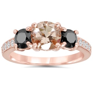 Bliss 14k Rose Gold 2ct TDW Black and White Diamond Morganite Ring (H-I, I2-I3)