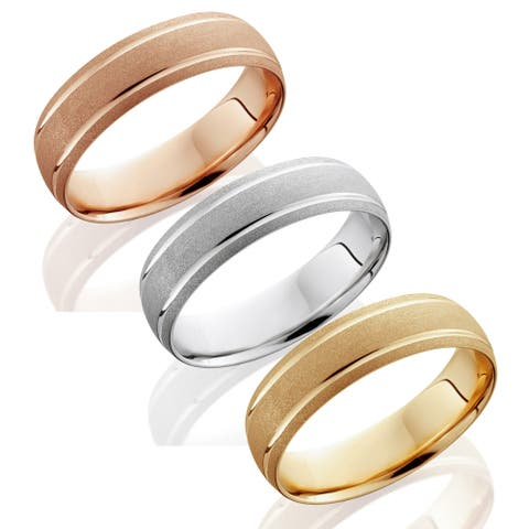 Bliss 14k Gold Men's 6mm Brushed Wedding Band