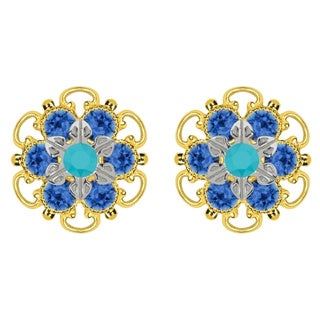 Lucia Costin Goldplated Sterling Silver Turquoise/ Blue Crystal Stud Earrings