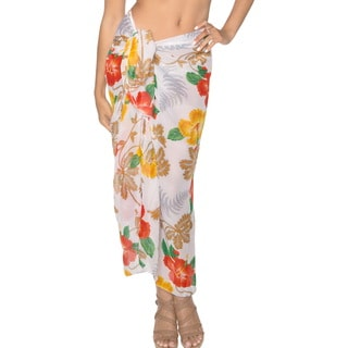 La Leela Floral Skirt Lightweight Chiffon Swim Sarong Cover up 72X42 Inch Multi