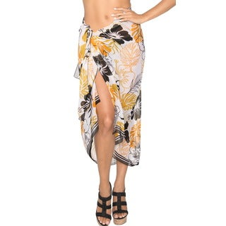 La Leela SUPER Lightweight Sheer CHIFFON Sarong Cover up 72X42 INCH Mustard