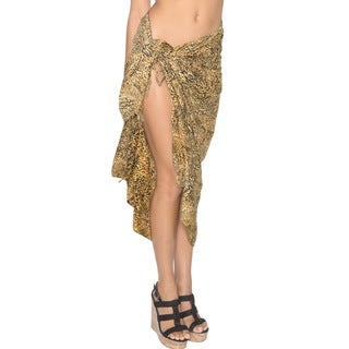 La Leela Super SOFT Likre Vintage Art Bikini Skirt Dress Sarong 72X42 Inch Brown