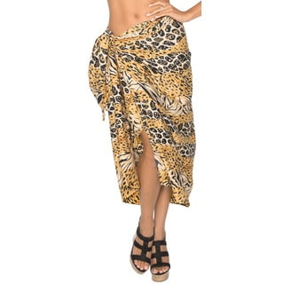 La Leela SOFT LIKRE Swimsuit Plus Abstract Skirt Dress Sarong 72X42 Inch Brown