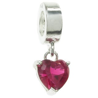 Queenberry Sterling Silver Fuchsia Cubic Zirconia Heart Dangle European Bead Charm