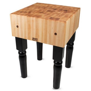 John Boos Black Butcher Block 30 x 30 Table and Henckels 13-piece Knife Block Set
