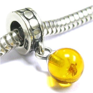 Queenberry Sterling Silver Baltic Amber Dangle European Bead Charm