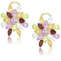 Dolce Giavonna Gold Over Sterling Silver Multi Gemstone Flower Stud Earrings
