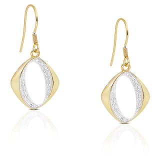 Finesque Gold Over Silver or Sterling Silver Diamond Accent Dangle Earrings