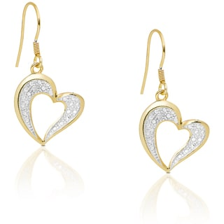 Finesque Gold Over Silver or Sterling Silver Diamond Accent Dangling Heart Earrings