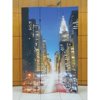 Truly New York 3-panel Wooden Downtown Scene Screen