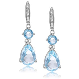 Journee Collection Sterling Silver Blue Topaz Post Earrings