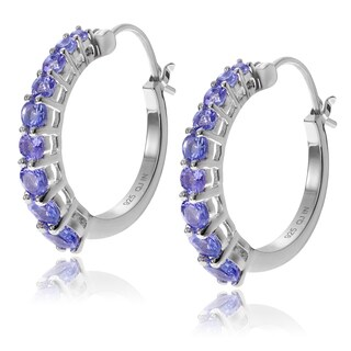 Journee Collection Sterling Silver Round Tanzanite Hoop Earrings