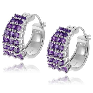 Journee Collection Sterling Silver Round Amethyst Hoop Earrings