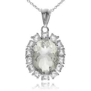 Journee Collection Sterling Silver Green Amethyst Topaz Accent Pendant
