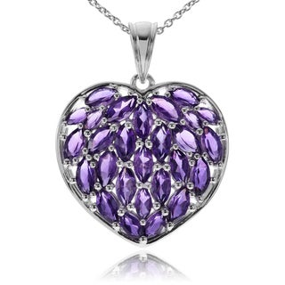 Journee Collection Sterling Silver Amethyst Heart Pendant