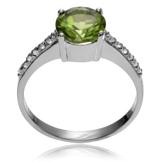 Journee Collection Sterling Silver Round Peridot Topaz Ring