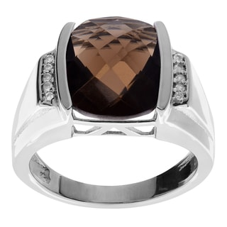 Journee Collection Sterling Silver Smoky Topaz Ring