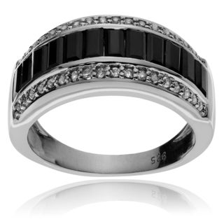 Journee Collection Sterling Silver Black Sapphire Topaz Ring
