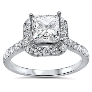 Noori 18k White Gold 1 1/4ct TDW Princess-cut Diamond Enhanced Engagement Ring