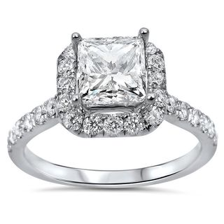 Noori 18k White Gold 1 3/5ct TDW Princess-cut Diamond Enhanced Engagement Ring