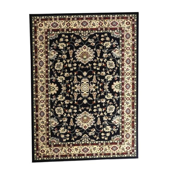 "Linon Persian Treasures Isfahan Black Floral Polypropylene Rectangular Area Rug (5' x 7'6) - 5' x 7'6"""