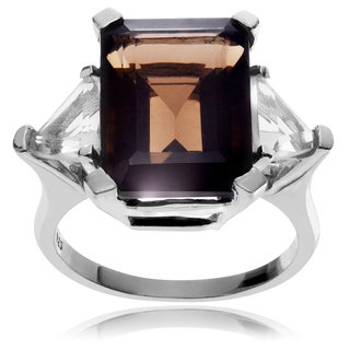 Journee Collection Sterling Silver Smoky Quartz 3-stone Ring