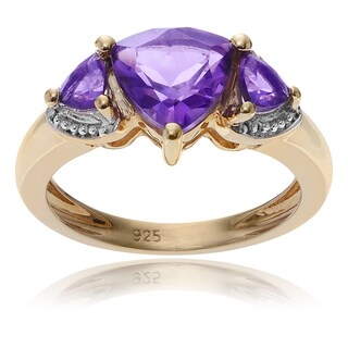 Journee Collection Goldplated Sterling Silver Amethyst 3-Stone Ring