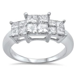 Noori 14k White Gold 1ct TDW Princess-cut Quad 3-stone Diamond Engagement Ring