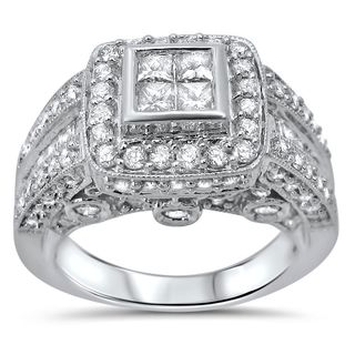Noori 14k White Gold 2ct TDW Princess-cut Quad Diamond Engagement Ring (G-H, I1-I2)