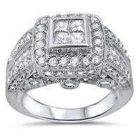Noori 14k White Gold 2ct TDW Princess-cut Quad Diamond Engagement Ring