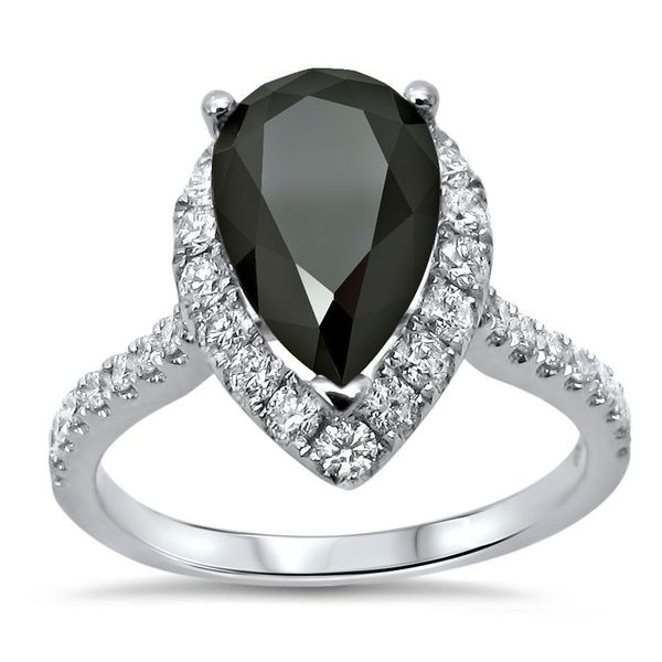 Noori 18k White Gold 2 1/2ct TDW Pear Black Diamond Engagement Ring