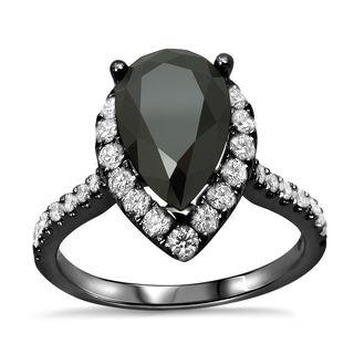 Noori 18k Black Gold 2 1/2ct TDW Pear Black Diamond Engagement Ring