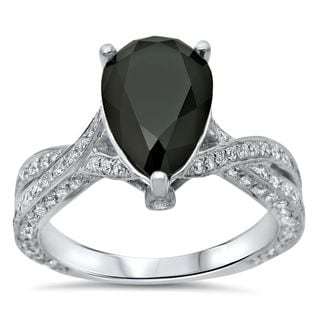 Noori 14k White Gold 2 3/4ct TDW Pear Black Diamond Engagement Ring
