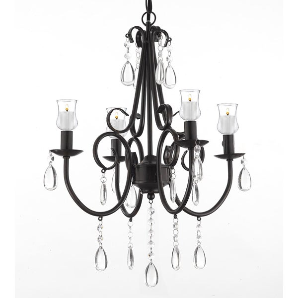Wrought Iron Crystal 4 Light Rustic Chandelier W Candle Votives