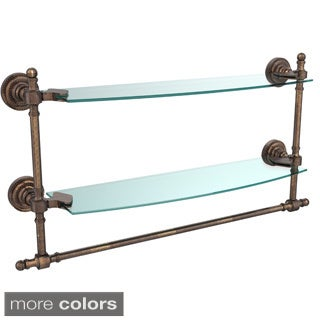 Retro Dot Collection 18-inch Two Tiered Glass Shelf with Integrated Towel Bar