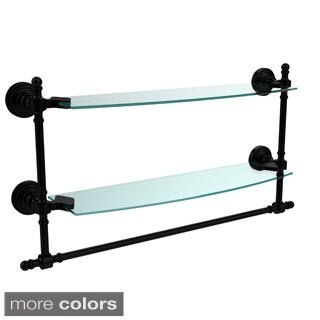 Retro Wave Collection 18-inch Two Tiered Glass Shelf with Integrated Towel Bar