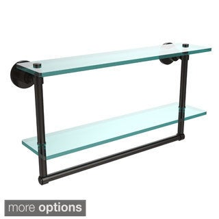 Washing Square Collection 22-inch Two Tiered Glass Shelf with Integrated Towel Bar